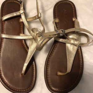 Aldo gold thong sandals